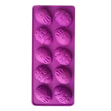 Wovemster Huevo de Pascua 10-Cavidad DIY Molde de Pastel de Silicona y Chocolate, Chocolate DIY - Para Delicias Personalizadas (Púrpura): Amazon.es: ...