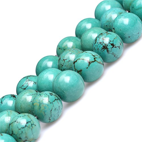 Old Turquoise Beads for Jewelry Making Gemstone Semi Precious 12mm Round Green 15