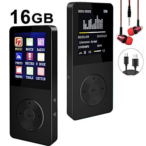 (Mp3 Player, Hotechs Hi-Fi Sound, with FM Radio, Recording Function Build-in Speaker Expandable Up to 64GB with Noise Isolation Wired Earbuds ¡­)