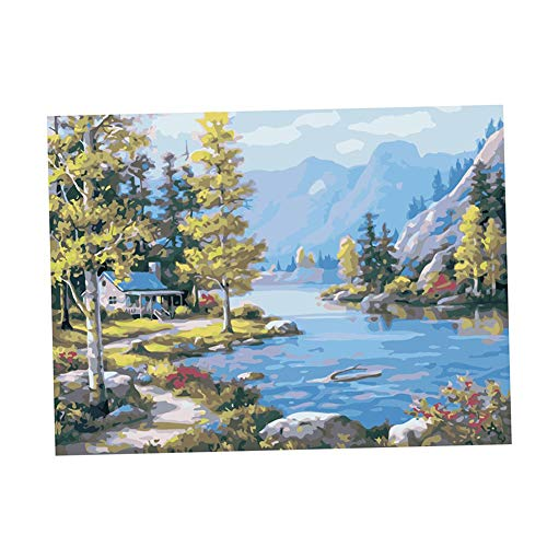(Jytrading Without Frame Well-Off Oil needlepointing Needlepoint Universal Kit Wireless Network On Canvas Bathroom Wall Decor Lakeside Lodge 40x50cm)