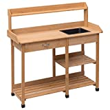 Fir Wood Garden Potting Bench Patio Table Storage Shelf Work Station w/ Drawer