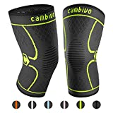 CAMBIVO 2 Pack Knee Brace, Knee Compression Sleeve Support for Running, Arthritis, ACL, Meniscus Tear, Sports, Joint Pain Relief and Injury Recovery(FDA Approved) (Small, Green)
