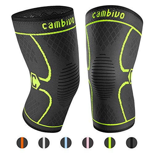 CAMBIVO 2 Pack Knee Brace, Knee Compression Sleeve Support for Running, Arthritis, ACL, Meniscus Tear, Sports, Joint Pain Relief and Injury Recovery(FDA Approved) (XXL, Green)