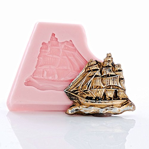 (Small Pirate Ship Silicone Mold Food Safe Fondant, Resin, Polymer Clay, Jewelry, Craft Mold )