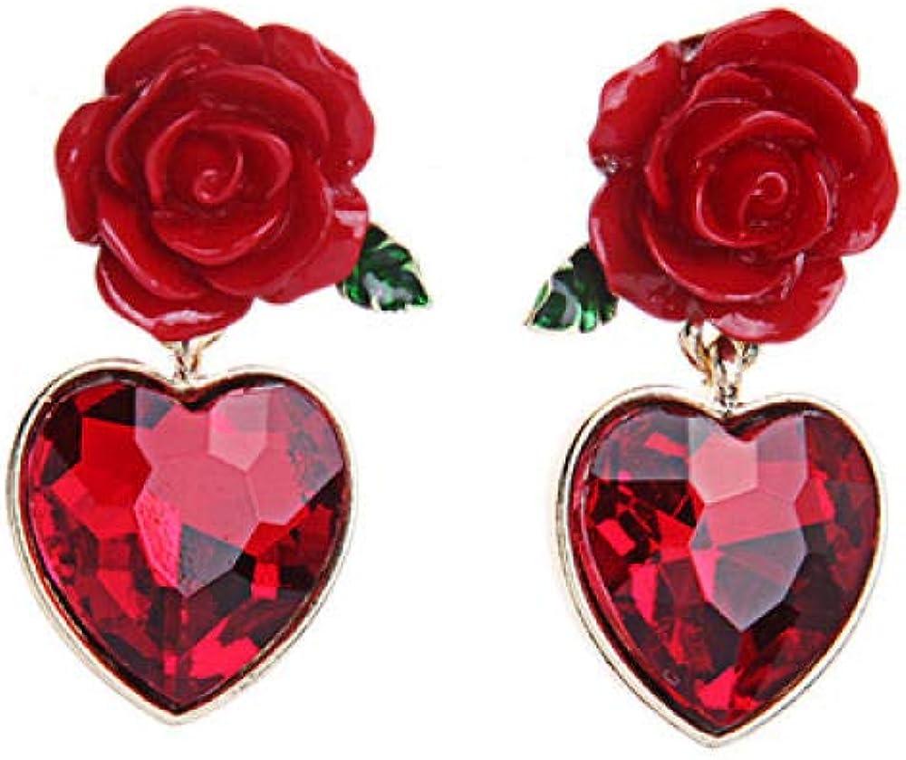 Pendientes Flores Rojas Colgante De Piedras Preciosas En Forma De Corazón Resina Piedras Preciosas De Cristal Esmalte Goteante Pendientes De Mujer