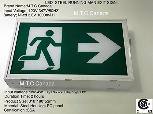 M.T.C Canada LED Running Man Exit Sign Steel Housing PC Panel Input Voltage  120V 347V