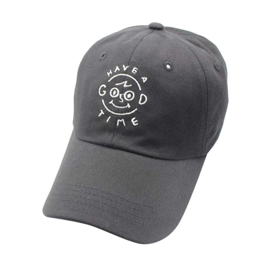 Tanlo Womens Mans Cotton Embroidered Unisex Baseball Caps Adjustable Hats (Black, Head:56-60cm/22.0-23.6'')