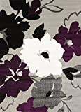 United Weavers of America Cristall Collection Snow Blossom Rug, 7' 10'' by 10' 6''/Oversize, Plum
