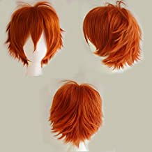 Short Cosplay Synthetic Wig with Bangs 20 Styles Anime Layered Fluffy Hair Oblique Fringe Full Head Unisex +Stretchable Elastic Wig Net for Man and Women Girls Lady Fashion (Dark Orange)