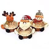 LOHOME Christmas Candy Storage Basket - Pack of 3 Santa Claus Storage Basket Gift Decoration Basket Santa/Snowman/Elk Home Decor Storage