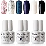 Gellen UV LED Gel Polish - 6 Colors (Includings Classic Black White Holographic Glitters), 8ml Nail Gel Gift Set