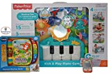 Fisher-price Kick & Play Piano Gym with 5 Busy Activity Toys-Green Bundle with VTech Musical Rhymes Book-Orange & Fisher-Price Musical Smart Phone-White - Online Exclusive Bundle- (PACK of 3 items)