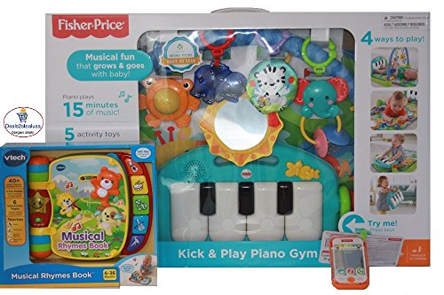 Fisher-price Kick & Play Piano Gym with 5 Busy Activity Toys-Green Bundle with VTech Musical Rhymes Book-Orange & Fisher-Price Musical Smart Phone-White - Online Exclusive Bundle- (PACK of 3 items) by DEALS2STEALUSA LLC