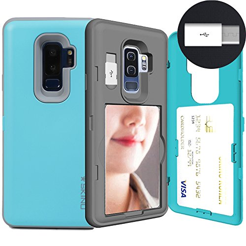 Galaxy S9 Plus, SKINU S9 Plus Wallet Charger Dual Layer Hidden Credit [S9 Plus Card Case] Holder ID Slot Card Case with Inner USB type C Adapter and Mirror for Samsung Galaxy S9 Plus (2018) - Teal