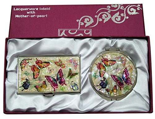 Mother of Pearl Compact Mirror Business Credit Name Card Holder Set Stainless Steel Black Butterfly Design Review