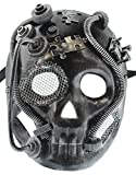 RedSkyTrader Mens Silver and Black Robot Skull Venetian Mask One Size Fits Most Silver
