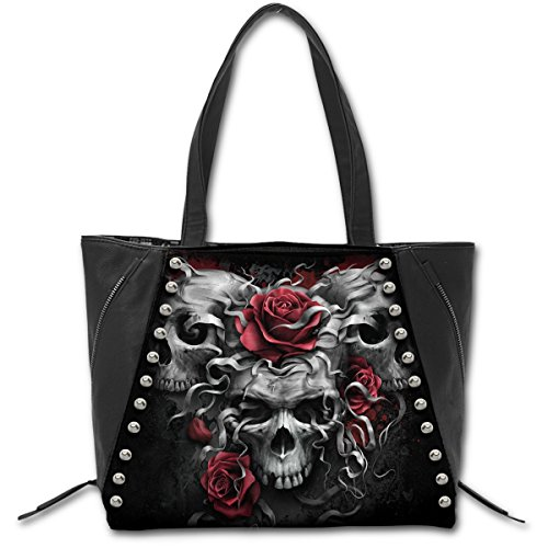SKULLS N' ROSES - Tote Bag - Top quality PU Leather Studded (ONE SIZE) Blue Tote With Skull