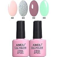 Aimeili Soak Off Uv Led Gel Nail Polish Multicolor / Mix Color / Combo Color Set Of 4Pcs X 10Ml - Kit Set 2