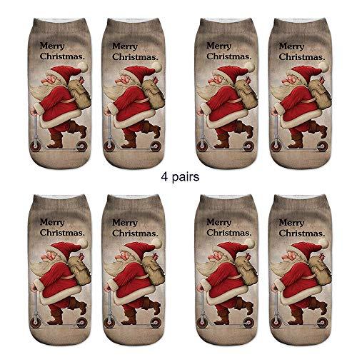 Unisex Christmas Funny Socks, Seaintheson 4 Pairs Casual Xmas Santa Claus Snowman Elk 3D Print Cute Low Cut Cozy Ankle ()
