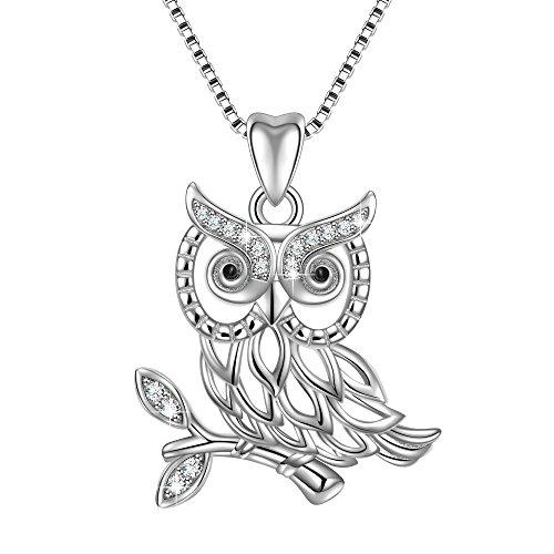 "925 Sterling Silver Bird of Wisdom Cubic Zirconia Owl Animal Women Necklace Pendant 18"" Italy Box Chain"