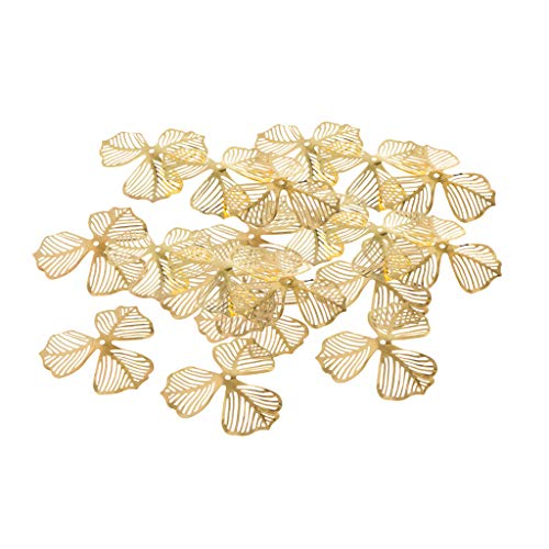 Prettyia Filigree Flower Pendants Charm Hollow Metal Pendant Jewelry Findings DIY Craft for Chinese Hairpin Hair Accessories Making Golden