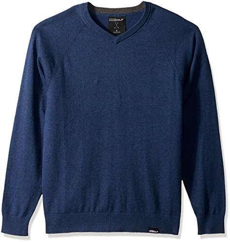 Skechers Men's Fairway Long Sleeve V Neck Cottom Cashmere Sweater Vest, Blue Iris, XL (Cashmere Golf Sweater)