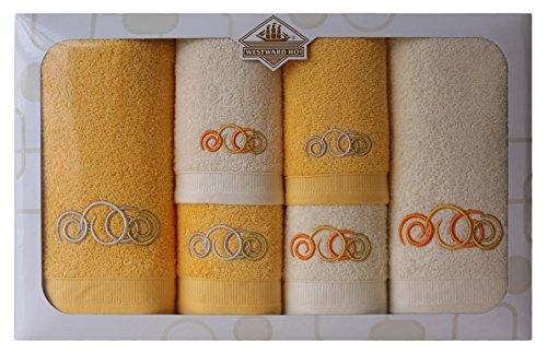 Westward Ho! Sphere Embroidery Box Towel, Cream/Yellow by Westward Ho!