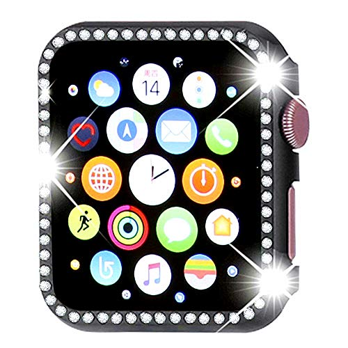 Watch Case for Apple Watch 44mm Series 4 Bling Rhinestone Diamond-Mounted Aluminum Frame Shockproof Protector Case Cover ()