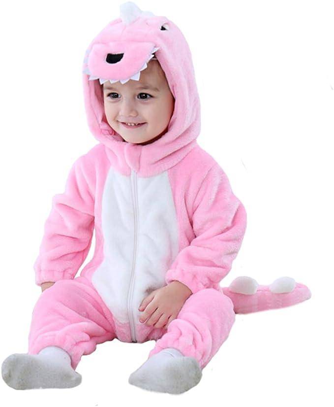 "Tonwhar Toddler Infant Tiger Dinosaur Animal Fancy Dress Costume (100(Height:31""-35""/Ages 18-24 Months), Pink)"
