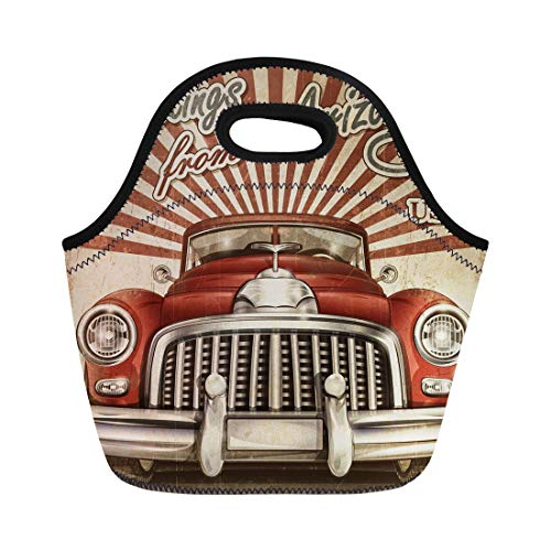 Semtomn Neoprene Lunch Tote Bag 1950S Vintage Touristic Retro Car Arizona 1960S 1970S 40S Reusable Cooler Bags Insulated Thermal Picnic Handbag for Travel,School,Outdoors, Work ()