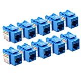 [UL Listed] Cable Matters 10-Pack Cat6 RJ45 Punch-Down Keystone Jack in Blue