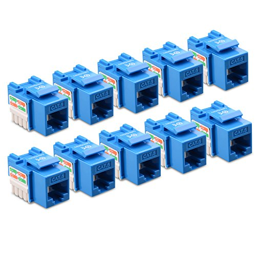 Cable Matters UL Listed 10-Pack Cat6 RJ45 Keystone Jack (Cat 6, Cat6 Keystone Jack) in Blue