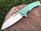 TacticalGearz TG Vex I, EDC G10 Folding Knife w/Sheath! Ball Bearing Pivot System, Razor Sharp 9Cr18MoV Satin Stainless Steel Blade! (Ice)