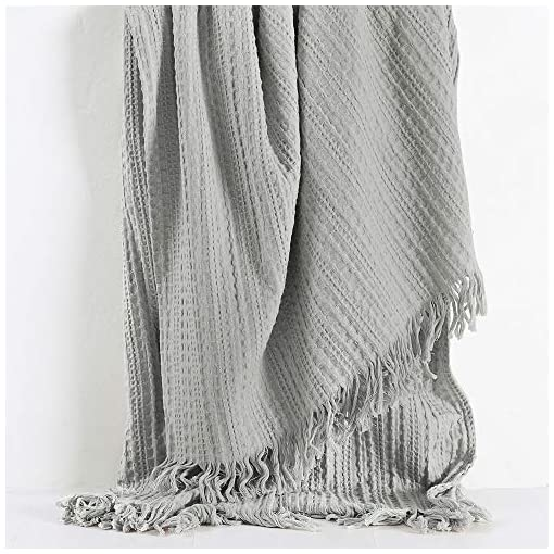 Bedroom 100% Cotton Queen Size Bed Blanket, Waffle Woven Light Grey Decorative Blanket with Fringe, Rustic Pre-Washed Super Soft… farmhouse blankets and throws