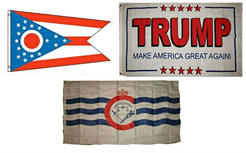 ALBATROS 3 ft x 5 ft Trump White #2 with State of Ohio with City of Cincinnati Set Flag for Home and Parades, Official Party, All Weather Indoors Outdoors -