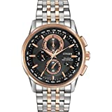 Citizen Watch World Men's Quartz Watch with Black Dial Chronograph Display and Two Tone Stainless Steel Plated Bracelet AT8116-57E