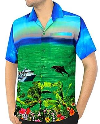 Likre Men Vintage Digital Beachwear Button Down Casual Relaxed Fit Shirt Blue