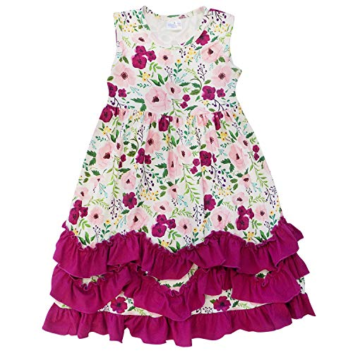 So Sydney Toddler Girls Flutter Short Sleeve or Lace Tank Cascading Ruffle Dress (12-24 Months (XXS), Plum Floral)
