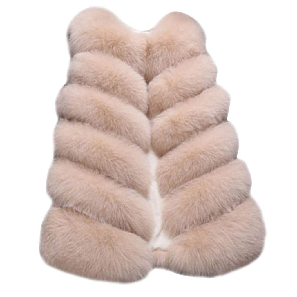 Benficial Womens Ladies Sleeveless Warm Faux Fur Waistcoat Solid Winter Loose Vest Coat Khaki by Benficial-Womens Coats