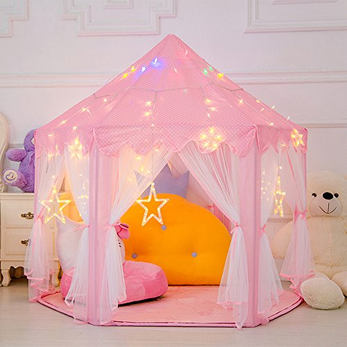Tent -Cute Girls Play House for Indoor and Outdoor Fun-Perfect for Kids Role Play and Party Games. (Fun Play Tent)