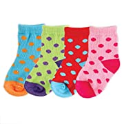 Luvable Friends Basic Crew Socks, 4 Pack, Pink, 0-6 months