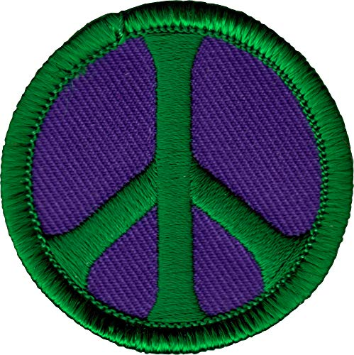 Green Peace Sign - Peace Sign - Green On Purple - Embroidered Sew or Iron on Patch