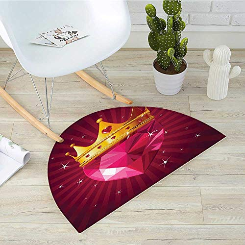 Diamond Semicircle Doormat Crystal Love Heart Diamond Wearing Crown Princess Queen on Radial Background Halfmoon doormats H 35.4