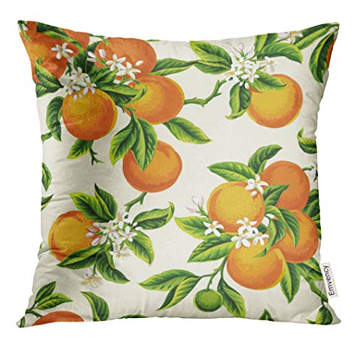 Yellow Light Orange Green - UPOOS Throw Pillow Cover Yellow Blossom with Orange Fruits Flowers and Leaves on Light Green Vintage Botanic Decorative Pillow Case Home Decor Square 16x16 Inches Pillowcase