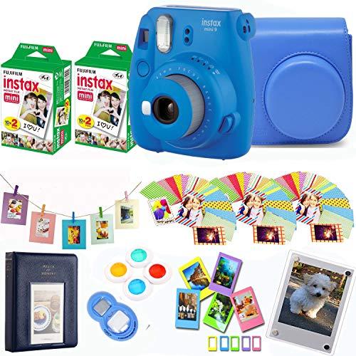 Fujifilm Instax Mini 9 - Cobalt Instant Camera + Fuji Instax Film 40 Shots + Protective Case + Magnetic Acrylic Frame + Album, Hanging Frames, Desk Frames, Filter Set & Selfie Lens 90 PC Design Kit