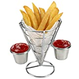 HANANei Fries Rack, Two Cups Durable Chip Stand Holder Snacks French Fry Fries Display Rack