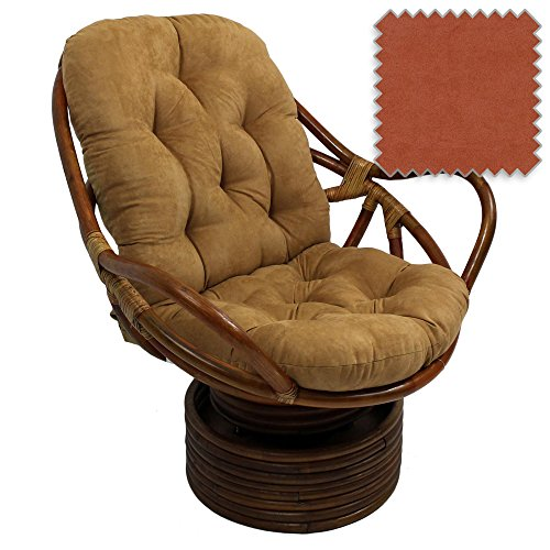 Bali Rattan Papasan Swivel Rocker with Cushion - Solid Microsuede Fabric, Spice (Papasan Swivel Chair Cushion)