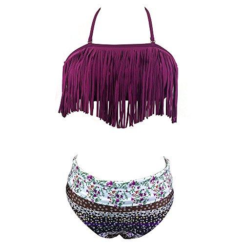 Hippih Women Fringed Floral Padded Bikini-Purple S