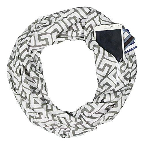 - Women's Greek Key Pattern Infinity Scarf with Zipper Pocket - Pop Fashion (Grey)