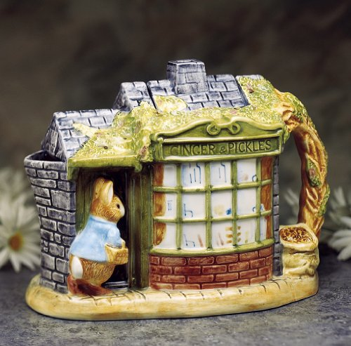 Peter Rabbit in Front of the Store Beatrix Potter Collection Handpainted Ceramic Collectible Teapot